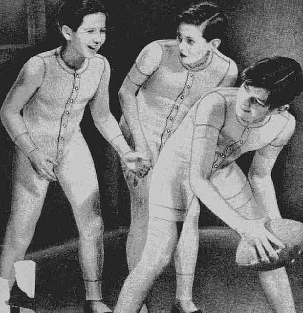 Boys wearing union suits in black and white photo
