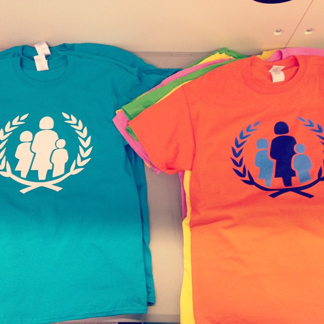 Colorful t-shirts screen printed for the UN Foundation