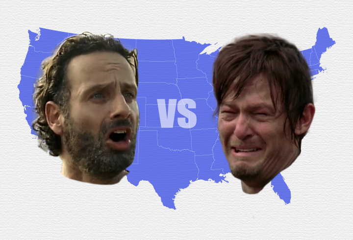 map of us with daryl dixon and rick grimes face on it
