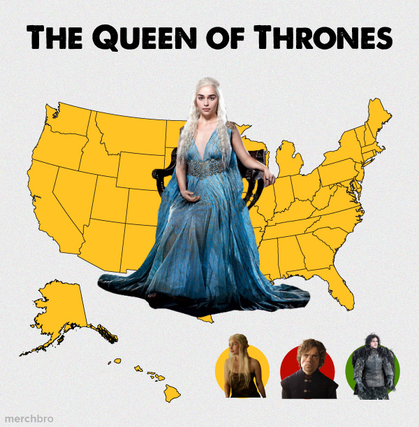Game of Thrones Interest Map showing Daenerys Targaryen as ruler of the United States