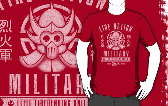 fire nation military elite fire bending unit legend of korra t-shirt