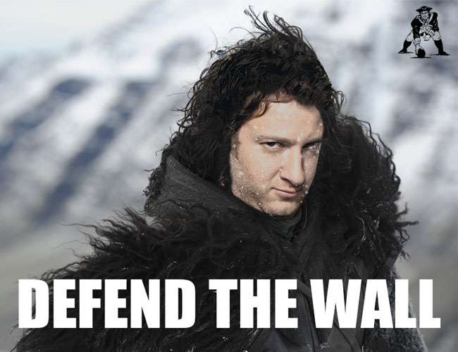 Dave El Presidente Portnoy from Barstool Sports as Jon Snow Defending The Wall For New England Patriots