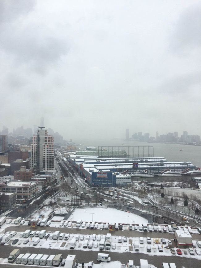 view from Merchbro office on a New York City snow day