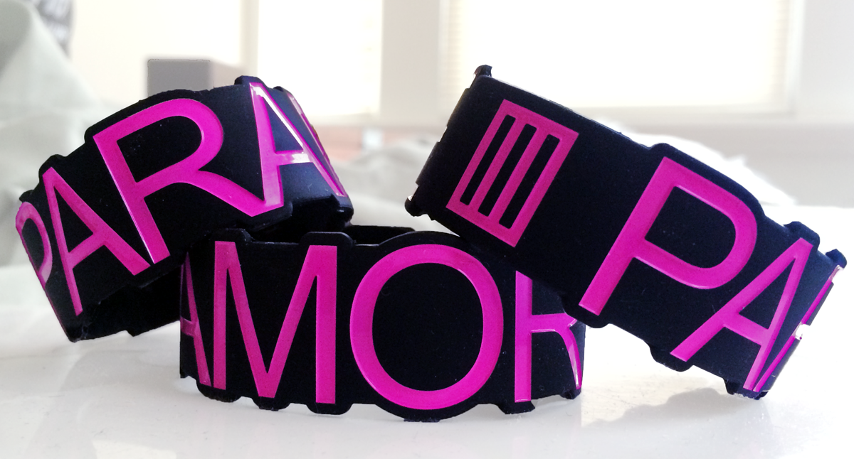 Paramore custom wristbands shaped by Merchbro