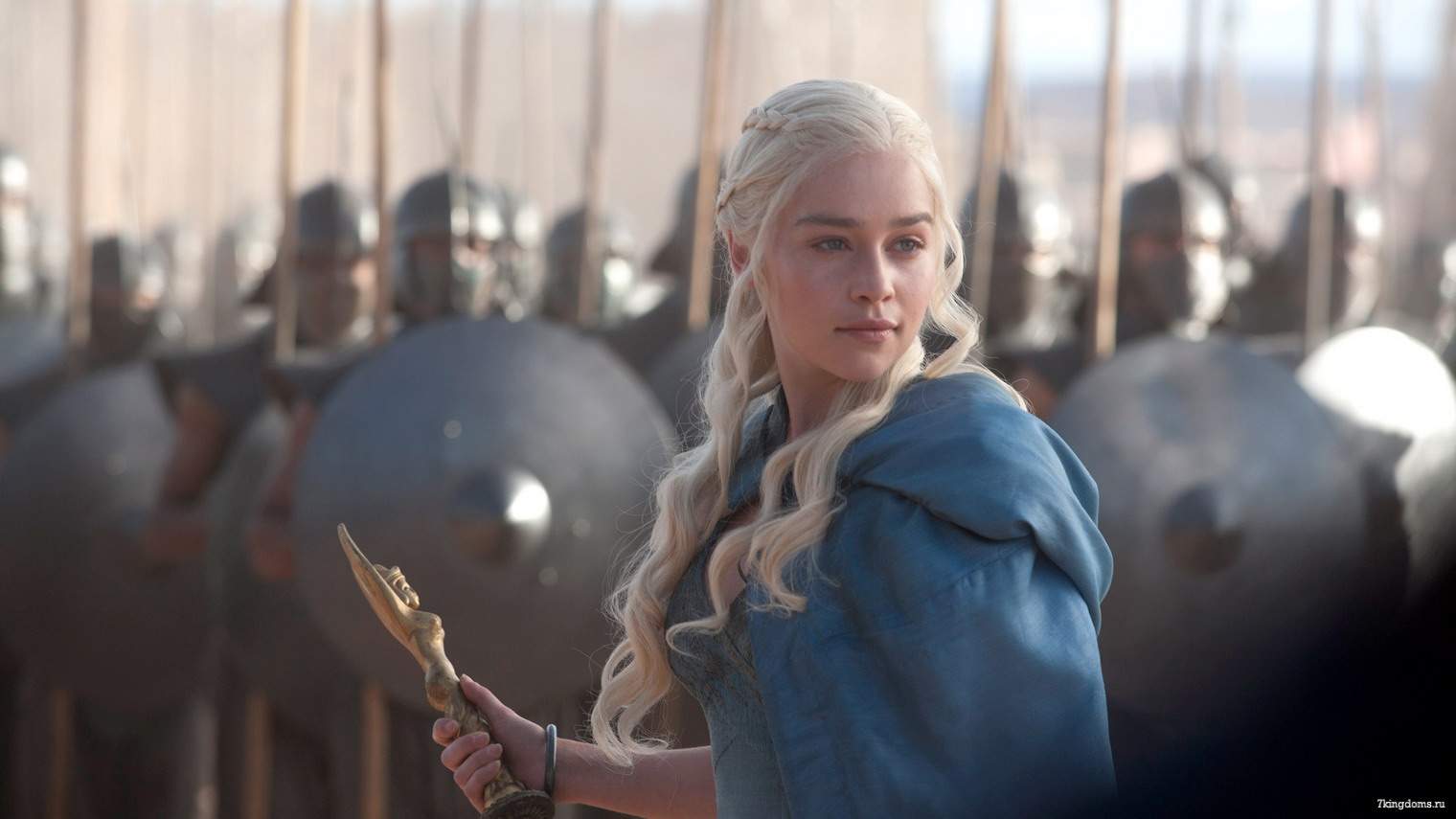 Daenerys Targaryen from Game Of Thrones wearing blue dress
