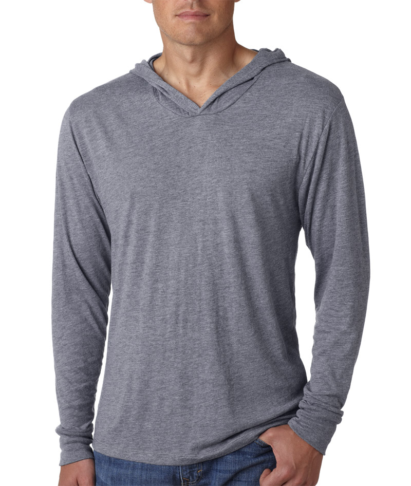 Man wearing grey colored Next Level 6021 pullover hoodie