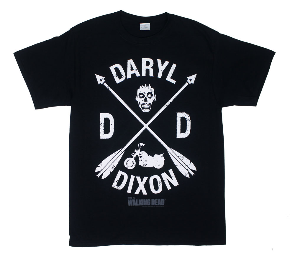 Daryl Dixon t-shirt featuring crossed arrows and motorcycle