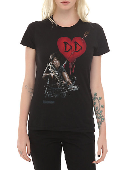 Daryl Dixon t-shirt featuring Daryl with his crossbow and a heart with the initials D.D.