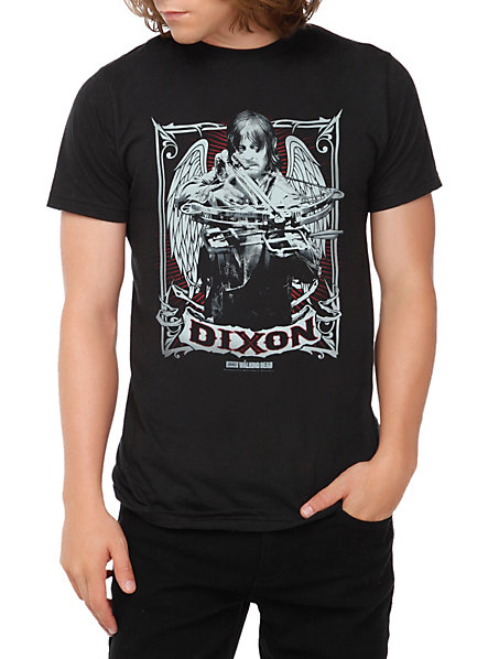 Daryl Dixon T-Shirt featuring Daryl with angel wings peering over his crossbow sight.
