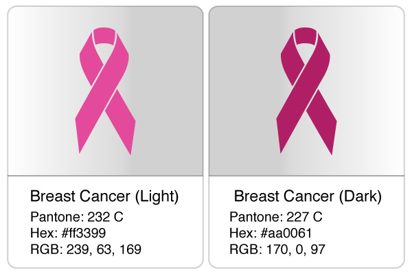 breast cancer ribbon colors for use in bracelets - Breast Cancer Pink Color Code