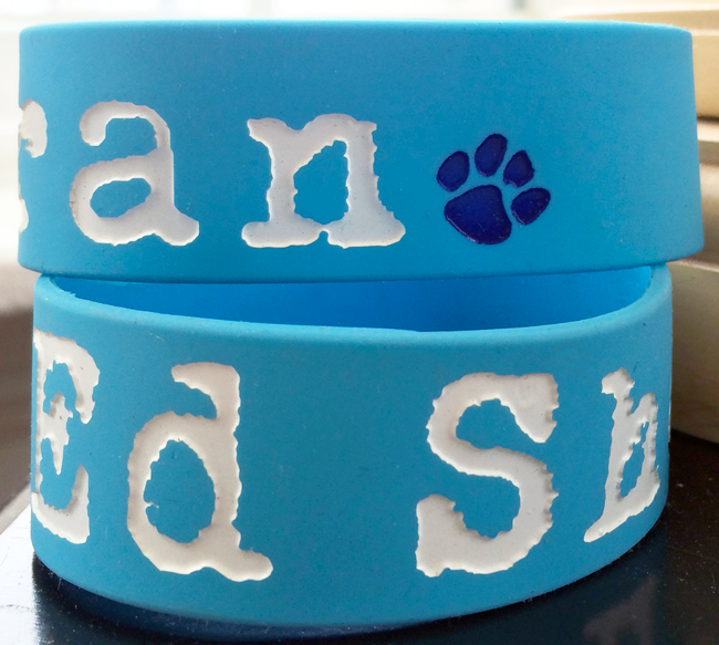 Ed Sheeran wristband made from blue silicone rubber and featuring dog paw print