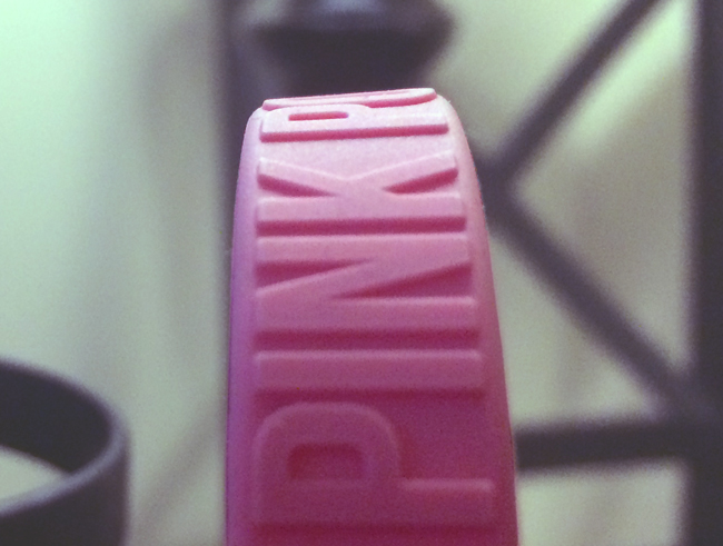 embossed wristband made for the joy to life organization