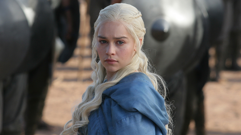 Daenarys Targaryen from Game of Thrones with intense look on face