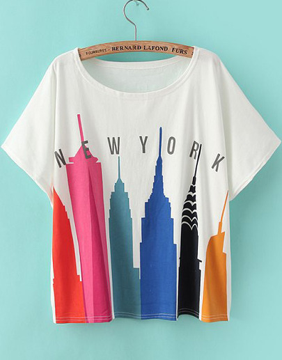 New York City T-Shirt featuring colorful skyscrapers a93e6eec5a1