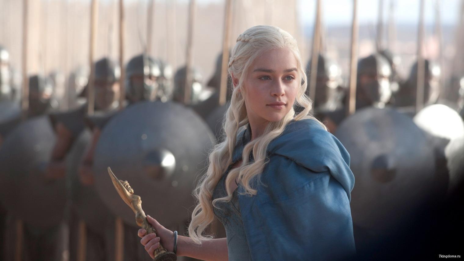 Daenerys Targaryen from Game Of Thrones wearing blue dress