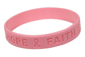 breast cancer bracelet in pink that says hope faith and shows a ribbon - Breast Cancer Pink Color Code