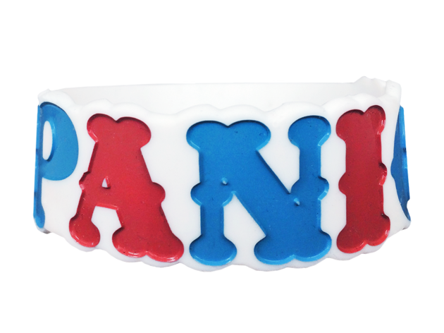 Reminderband tricked out by Wristband Bros to include die cut and multi-colored inks made for Panic At The Disco