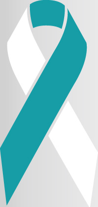 cervical cancer awareness ribbon in colors teal and white