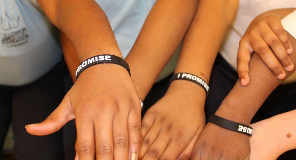 best loved 487d8 da42d Kids wearing an I Promise wristband